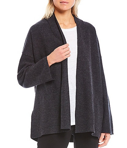 Eileen Fisher Light Boiled Wool Open Front Long Sleeve Boxy Jacket