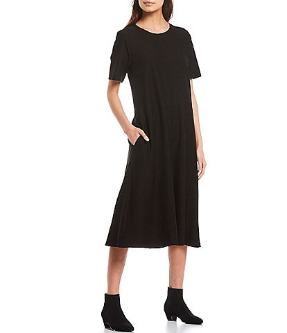 Eileen Fisher Lightweight Stretch Washable Crepe Crew Neck Short Sleeve Midi Dress