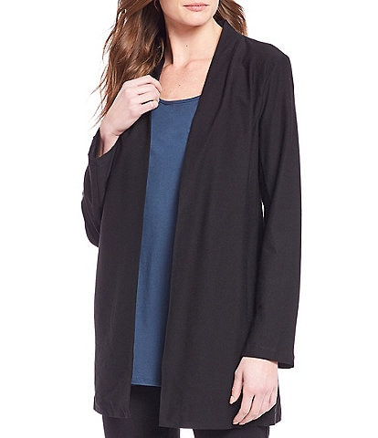 Eileen Fisher Lightweight Washable Stretch Crepe Long Jacket