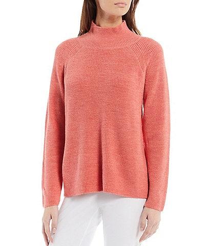 Eileen Fisher Merino Wool Ribbed Turtleneck Raglan Shoulder Long Sleeve Sweater