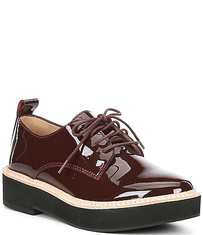 Eileen Fisher Nims Patent Leather Lace-Up Oxfords