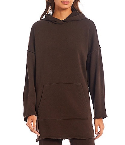 Eileen Fisher Organic Cotton French Terry Hooded Long Sleeve Boxy Tunic