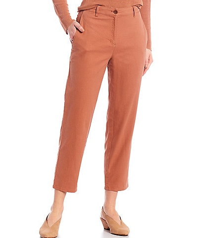 Eileen Fisher Organic Cotton Hemp Stretch High Waist Tapered Ankle Pants