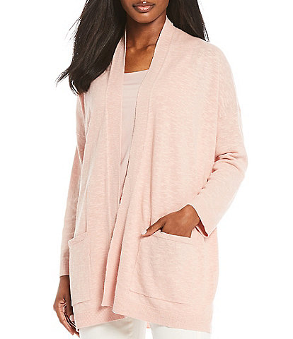 Eileen Fisher Organic Cotton Linen Slub High Collar Long Cardigan