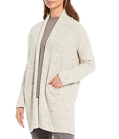 Eileen Fisher Organic Cotton Speckle High Collar Cardigan