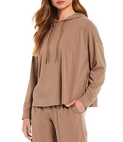 Eileen Fisher Organic Cotton Stretch Jersey Drawstring Hood Neck Long Sleeve Pullover Coordinating Boxy Hoodie