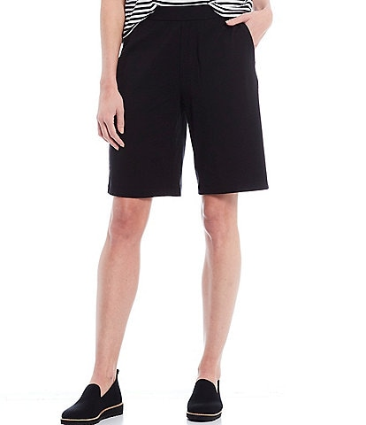Eileen Fisher Organic Cotton Stretch Jersey Walking Shorts With Pockets