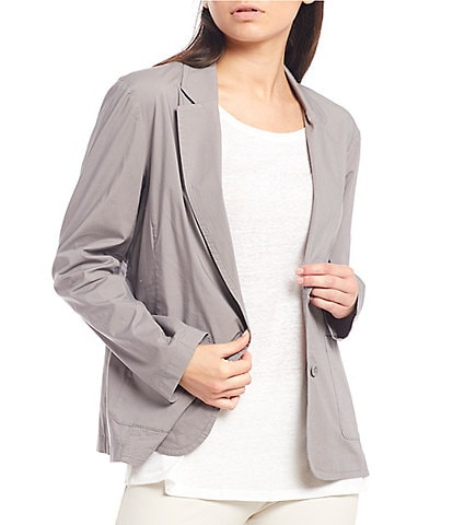 Eileen Fisher Organic Cotton Stretch Poplin Notch Collar Shaped Jacket