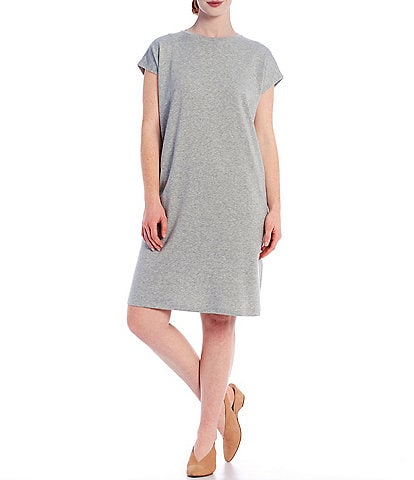 Eileen Fisher Organic Cotton Terry Crew Neck Boxy Knee Length Dress
