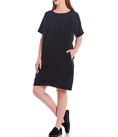 Eileen Fisher Organic Handkerchief Linen Round Neck Short Sleeve Knee Length Dress