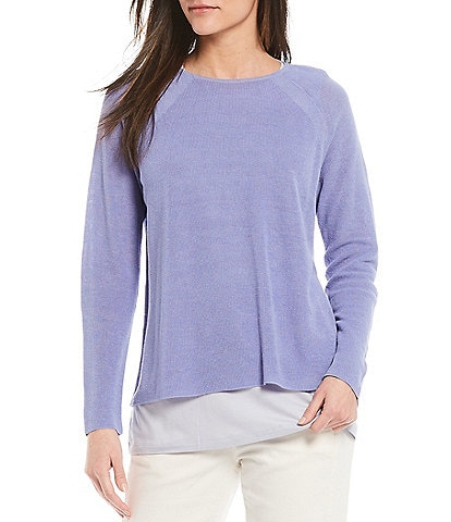 Eileen Fisher Organic Line Cotton Crew Neck Raglan Sleeve Top