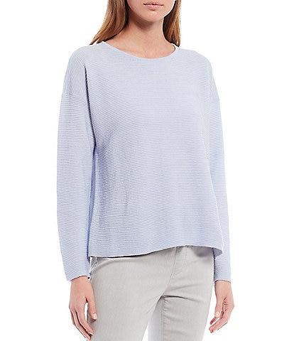 Eileen Fisher Organic Linen Cotton Crew Neck Ribbed Box Top
