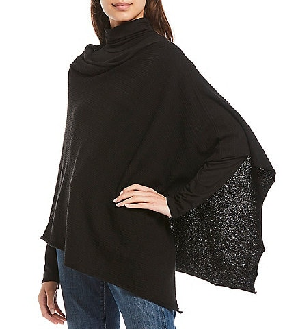 Eileen Fisher Organic Linen Crepe Stretch Asymmetric Poncho