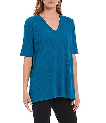 Eileen Fisher Organic Linen Crepe Stretch V-Neck Elbow Sleeve Tunic