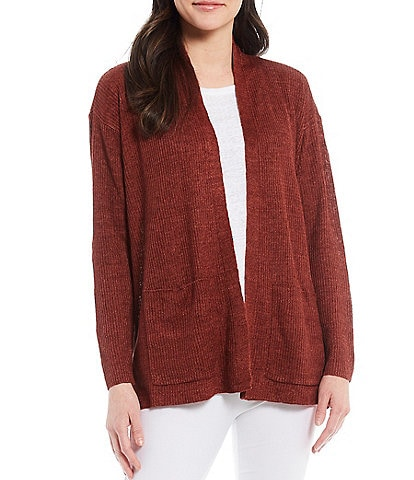 Eileen Fisher Organic Linen High Collar Cardigan