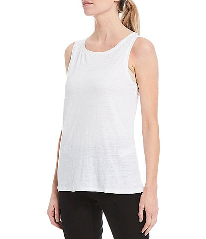 Eileen Fisher Organic Linen Jersey Jewel Neck Tank