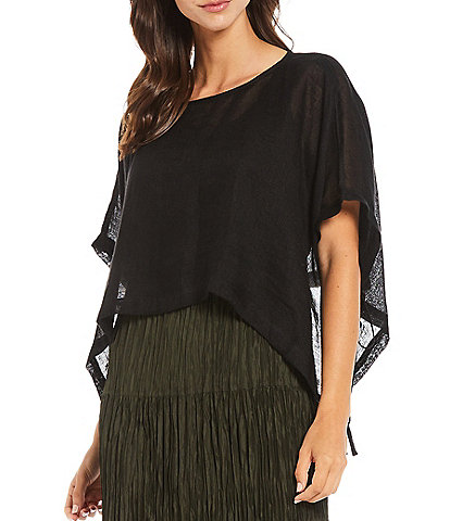 Eileen Fisher Organic Linen Jewel Neck Cropped Poncho