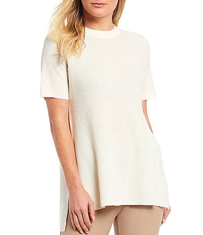 Eileen Fisher Organic Linen Stretch Crepe Mock Neck Short Sleeve Tunic