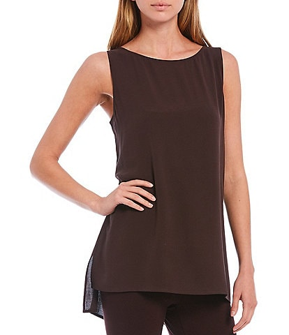 Eileen Fisher Petite Size Bateau Neck Tunic Silk Georgette Crepe Hi-Low Shell