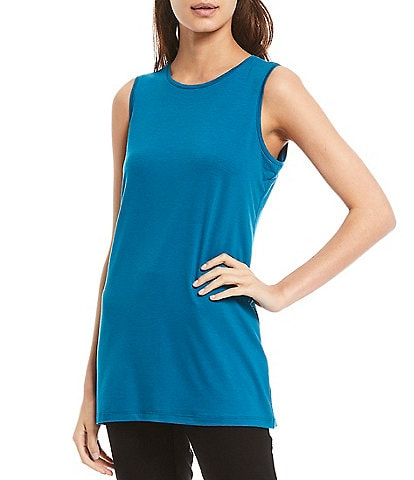 Eileen Fisher Petite Size Fine Tencel Jersey Crew Neck Long Tank