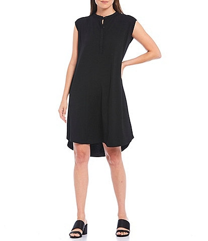 Eileen Fisher Petite Size Fine Tencel Jersey Mandarin Collar Knee Length Hi-Low Dress
