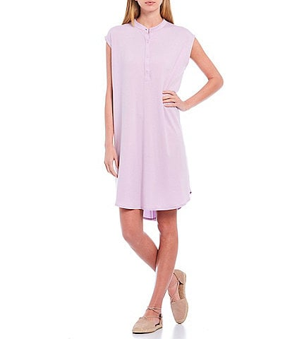 Eileen Fisher Petite Size Fine Tencel Jersey Mandarin Collar Cap Sleeve Knee Length Hi-Low Dress