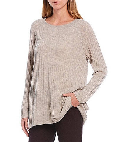 Eileen Fisher Petite Size Merino Crew Neck Long Sleeve Straight Tunic