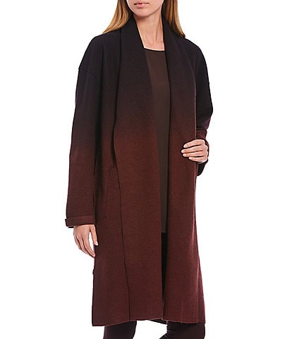 Eileen Fisher Petite Size Ombre Boiled Wool Shawl Collar Coat