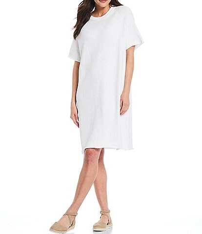 Eileen Fisher Petite Size Organic Cotton French Terry Crew Neck Short Sleeve Knee Length Dress