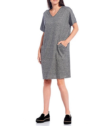 Eileen Fisher Petite Size Organic Cotton Hemp Melange V-Neck Short Sleeve Knee Length Dress