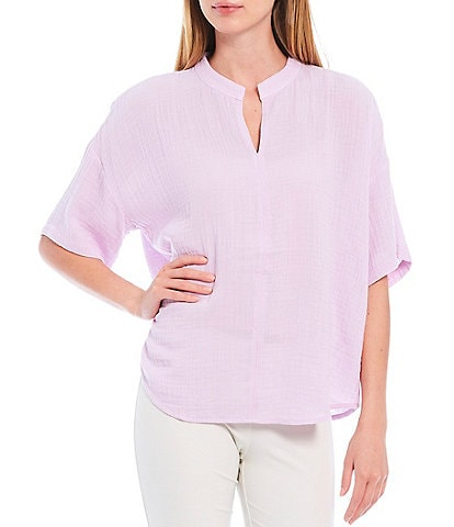 Eileen Fisher Petite Size Organic Cotton Lofty Gauze Split Round Neck Elbow Sleeve Top