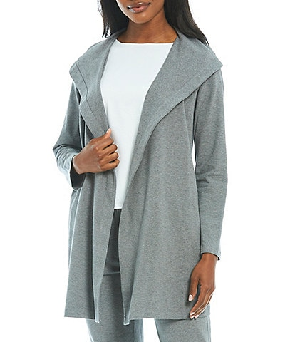 Eileen Fisher Petite Size Organic Cotton Stretch Jersey Hooded Jacket