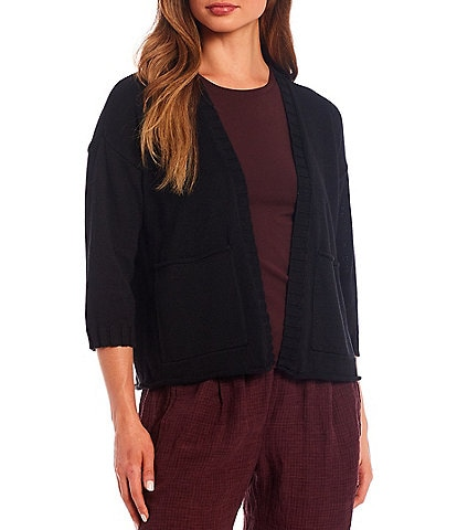 Eileen Fisher Petite Size Organic Linen Cotton 3/4 Sleeve Textured Cardigan