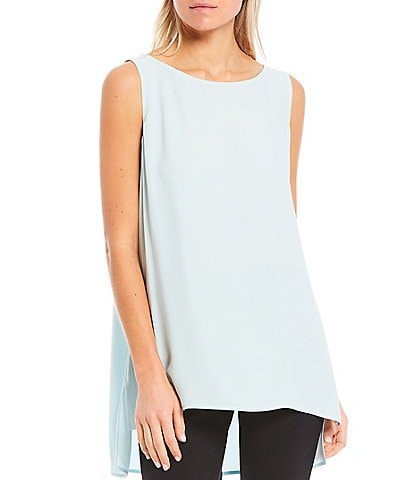 Eileen Fisher Petite Size Silk Georgette Crepe Bateau Neck Sleeveless Hi-Low Shell