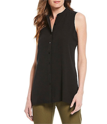 Eileen Fisher Petite Size Silk Georgette Crepe Mandarin Collar Sleeveless Shirt