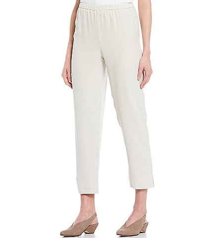 Eileen Fisher Petite Size Silk Georgette Crepe Tapered Pant With Side Slits