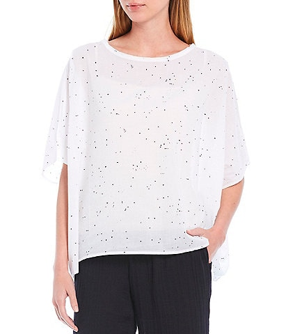Eileen Fisher Petite Size Splatter Print Voile Round Neck Short Sleeve Organic Cotton Box Top