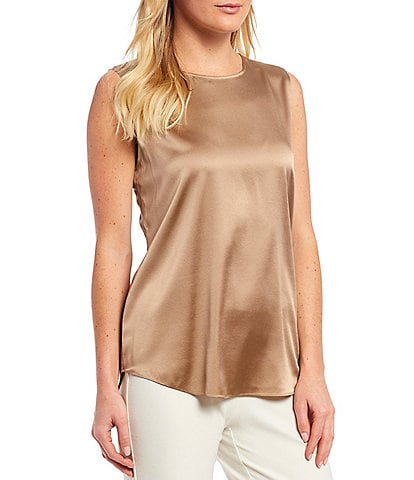 Eileen Fisher Petite Size Stretch Silk Charmeuse Round Neck Tank
