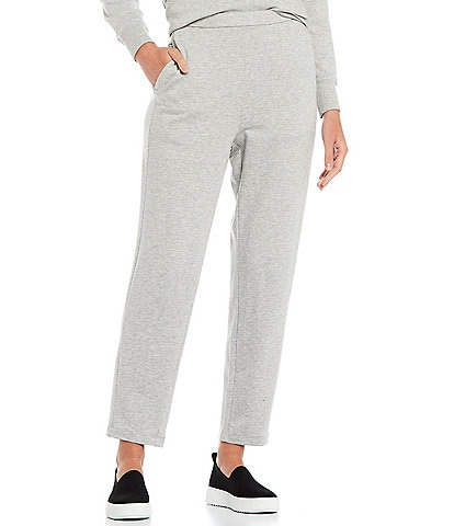 Eileen Fisher Petite Size Tencel Organic Cotton Fleece Stretch Knit Slouch Ankle Pull-On Pants