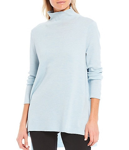 Eileen Fisher Petite Size Ultrafine Merino Mock Neck Neck Hi-Low Sweater Tunic