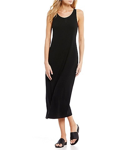 Eileen Fisher Petite Size Viscose Jersey Scoop Neck Midi Tank Dress