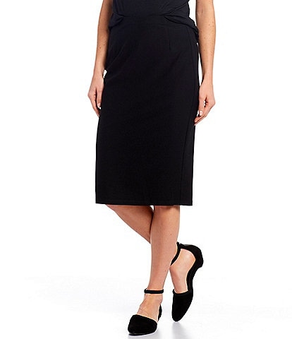 Eileen Fisher Petite Size Washable Stretch Crepe High Waisted Knee Length Pencil Skirt