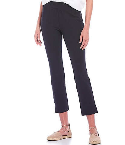 Eileen Fisher Petite Size Washable Stretch Crepe Slim Crop With Side Slits Pant
