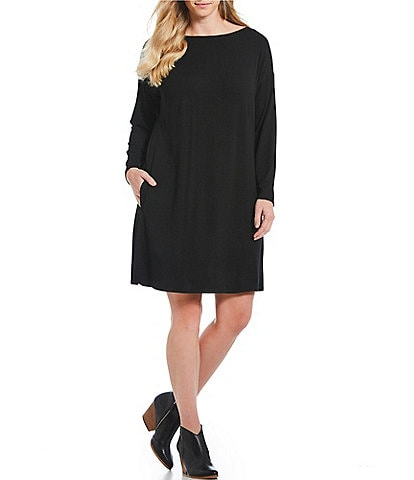 Eileen Fisher Plus Size Bateau Neck Long Sleeve Shift Dress