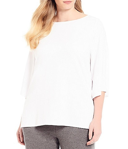 Eileen Fisher Plus Size Bateau Neck Top