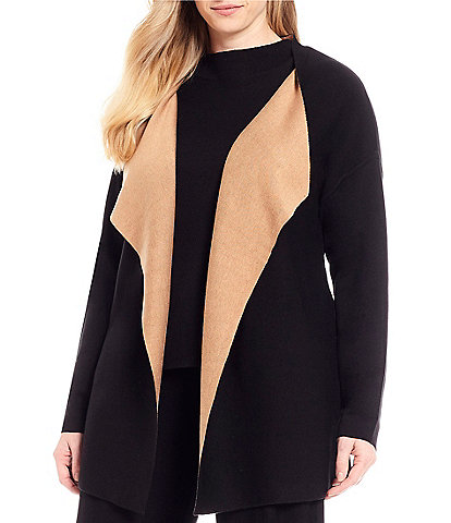 Eileen Fisher Plus Size Cascading Open Front Cardigan