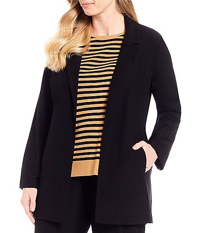 Eileen Fisher Plus Size Classic Collar Long Belted Jacket
