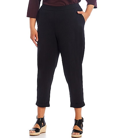 Eileen Fisher Plus Size Cotton Stretch Slim Pants