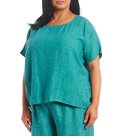 Eileen Fisher Plus Size Cross Dye Organic Linen Short Sleeve Round Neck Boxy Top