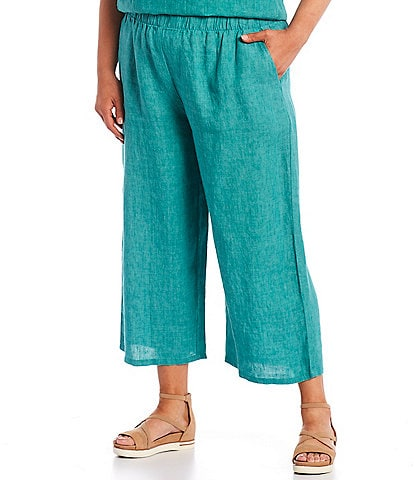 Eileen Fisher Plus Size Cross Dyed Organic Linen Wide Leg Cropped Pant